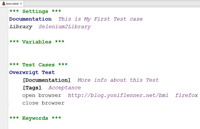 Robot framework code sample