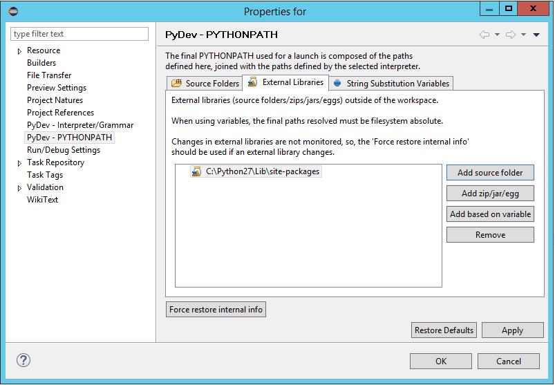 Using Selenium with Python: PyDev- PYTHONPATH