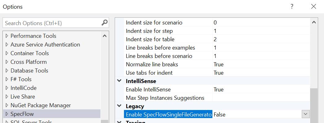 Disable the SpecFlowSingleFileGenerator custom tool