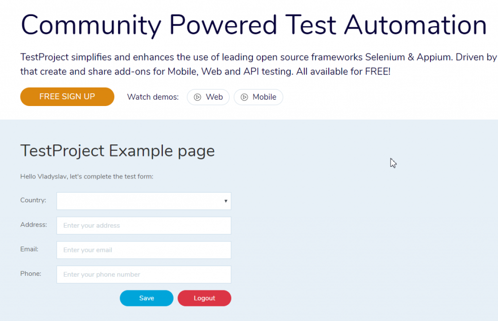 TestProject Example Web Page