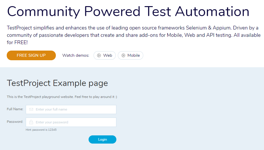 TestProject Example Web App