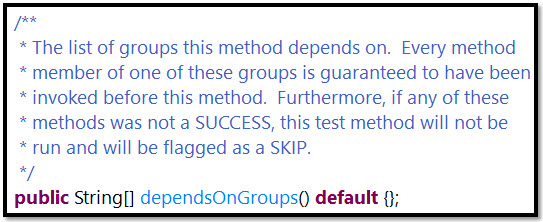 dependsOnGroups Source Code