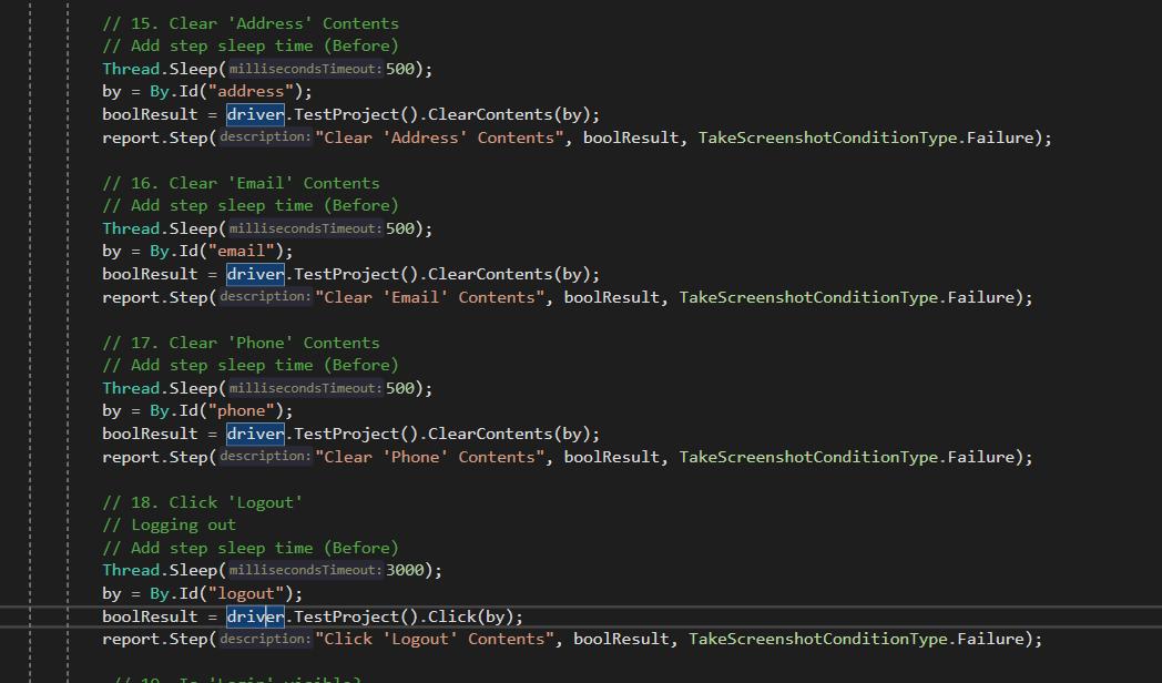 TestProject - Test Code
