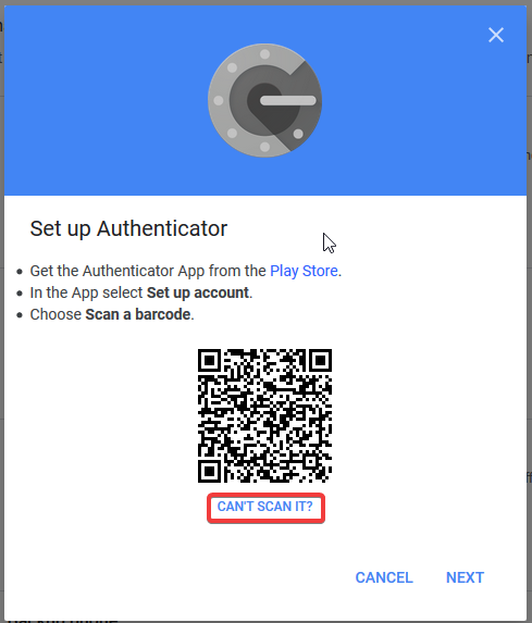 Google security settings - QR Code