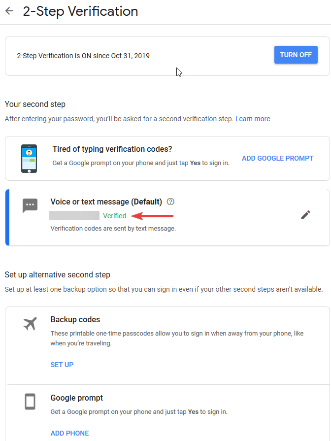 Google security settings - Verified Device