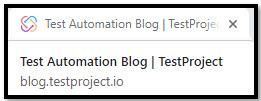 TestProject Blog Page Title