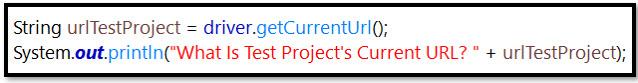 getCurrentUrl Selenium Code
