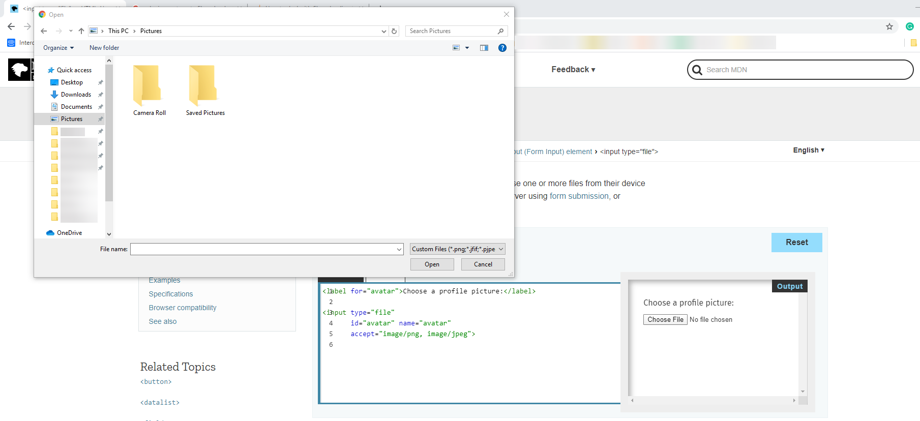 native OS file explorer dialog
