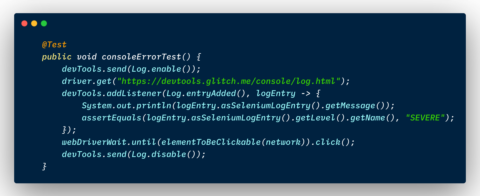 Chrome DevTools log event listener