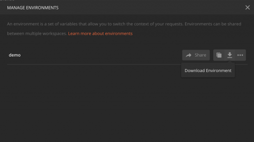 Manage Environment popup