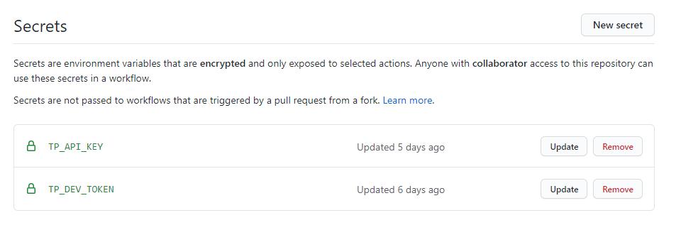Secrets in GitHub Repo