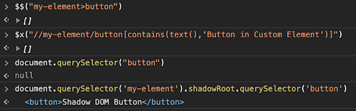 Custom Element appended with Shadow DOM through CSS, XPath, document interface, and shadowRoot interface