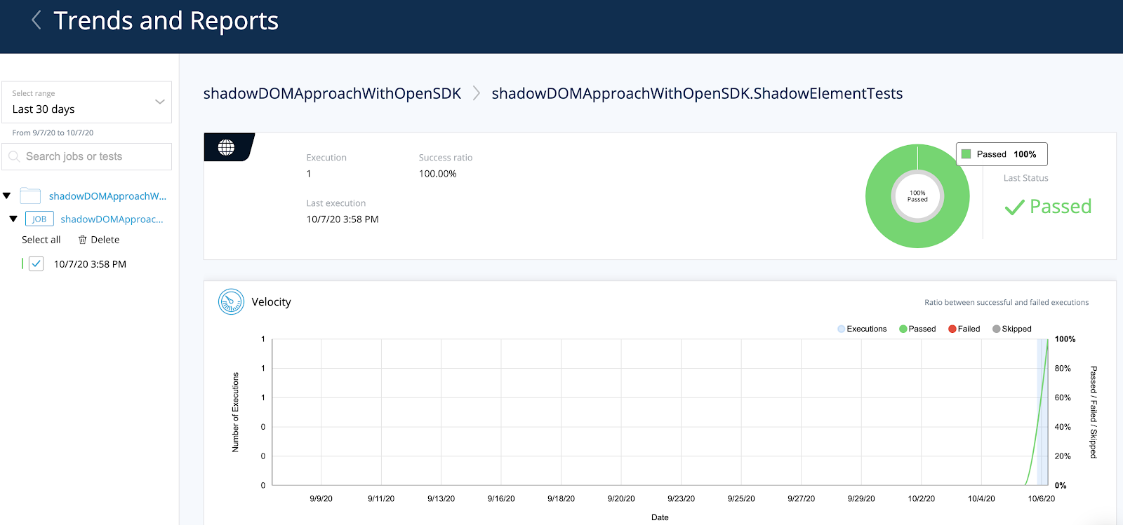 Shadow DOM with TestProject - Execution reports