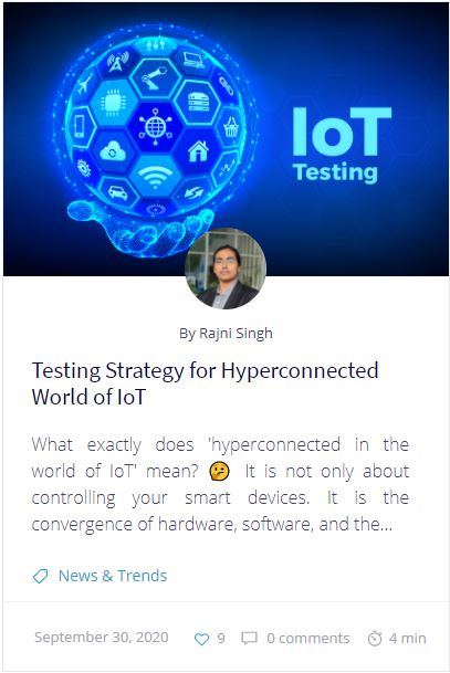 Testing Strategy for Hyperconnected World of IoT