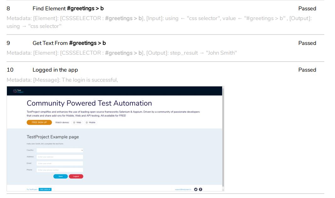 PDF report step with screenshot