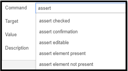 Selenium IDE Assertions