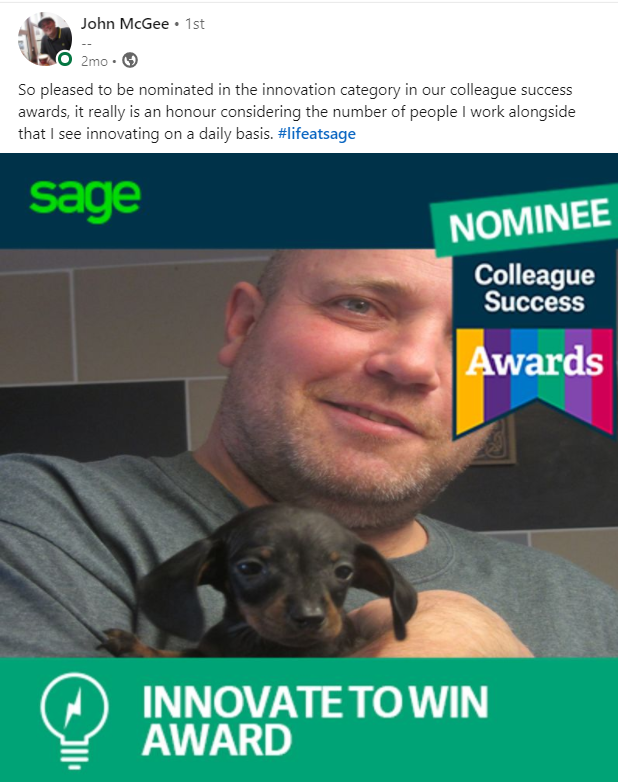 Picture of John McGee being nominated for Sage Colleague Success Awards