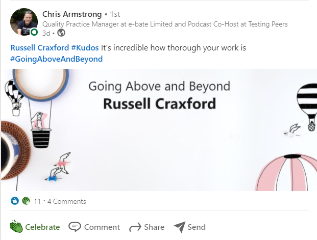 Example of giving Kudos on Linkedin