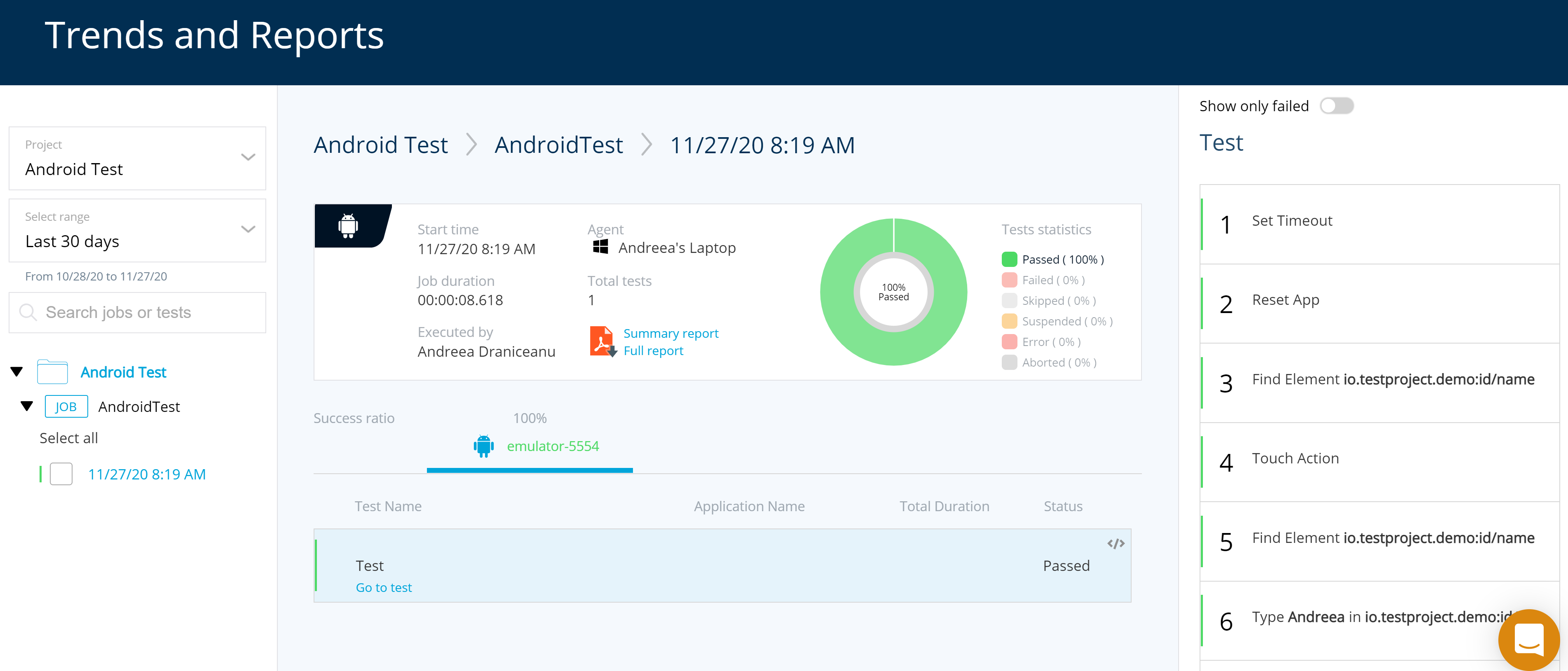 TestProject HTML Trends Report