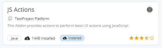 JS Actions Addon - TestProject