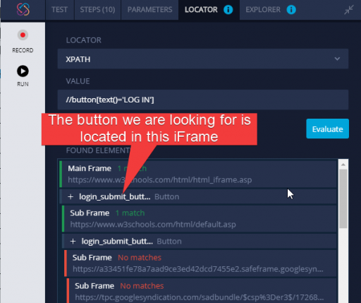 identify iFrames on a page with TestProject Smart Test Recorder