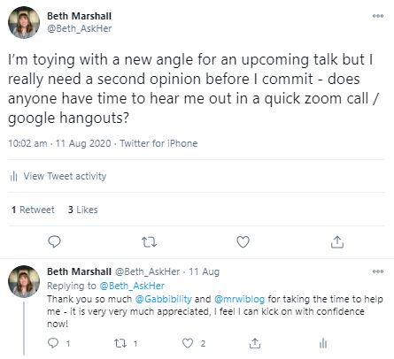 Tweet asking for (and getting) help