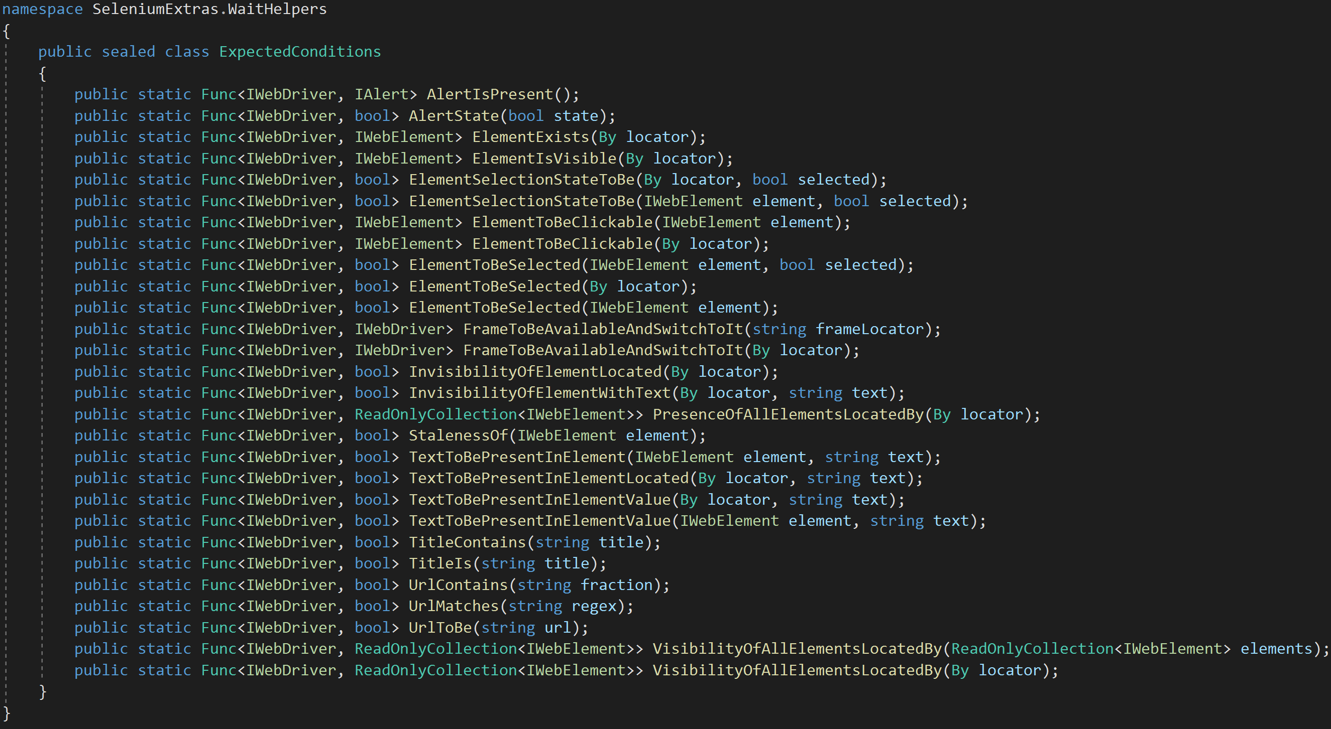 Explicit Wait Expected Conditions in C#