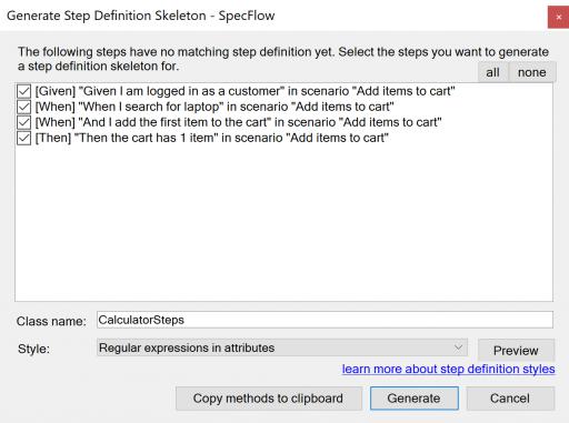 SpecFlow Generated Step Definitions in Visual Studio