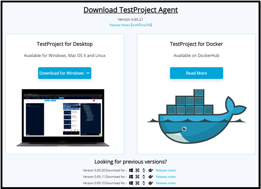 TestProject Agent Download
