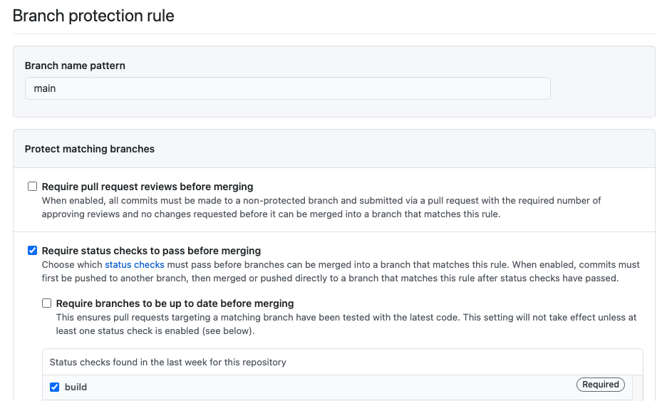 Branch protect rule page