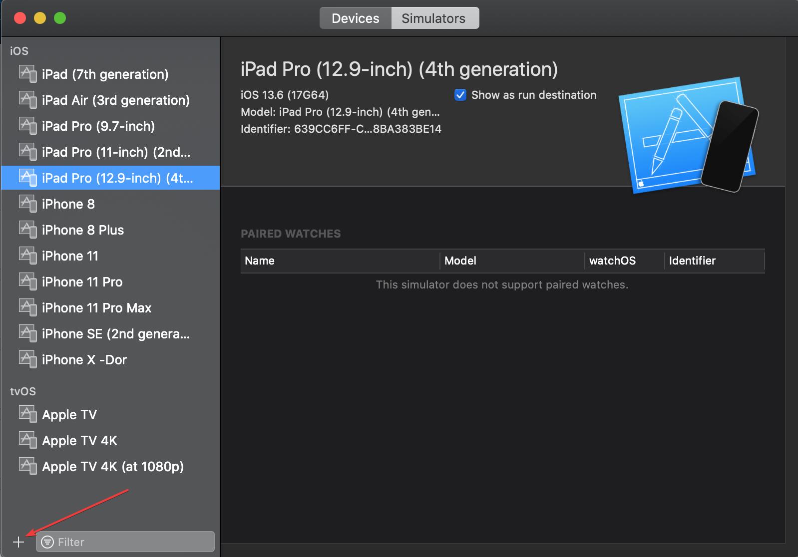 create a new simulator on Xcode