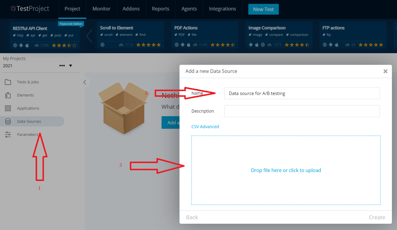 Upload data source for A/B Testing