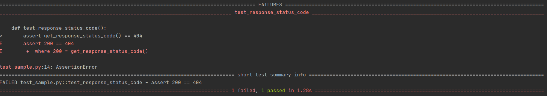 PyTest Results - Failure