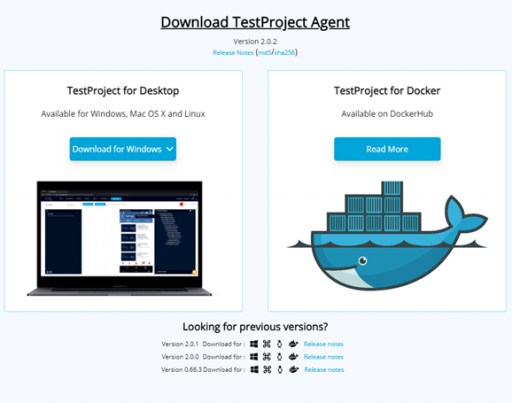 TestProject Agent Download