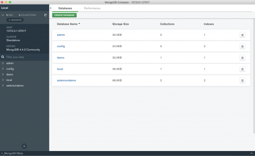 Create database in MongoDB