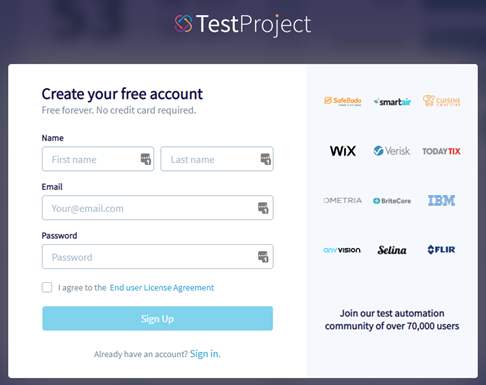 Sign up to TestProject