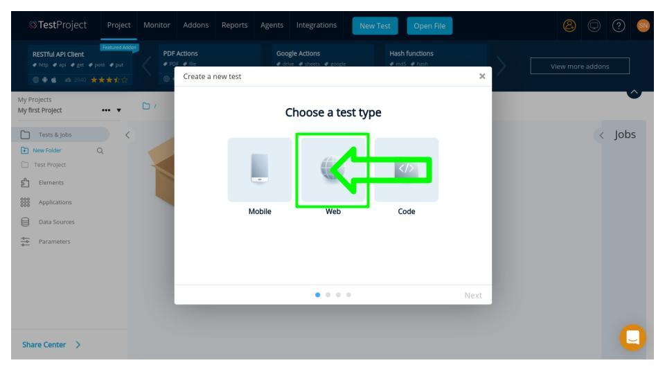 Create web test - TestProject