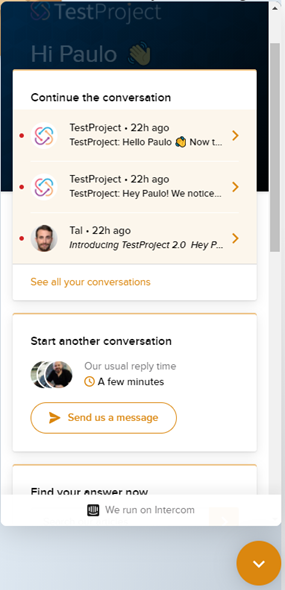TestProject Support Chat