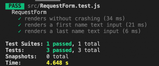 Our third test passes now that the form renders an input for the last name