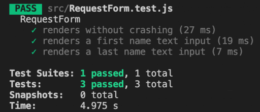 Our tests are still passing after our style refactor