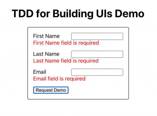 Mockup 2: Error messages appear on form submission if fields are left blank