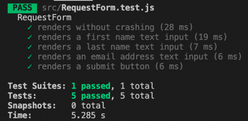 Our fifth test passes now that the form renders a submit button