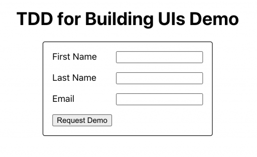 App renders a nice form centered on the page, matching the design mockups