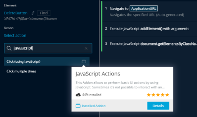 JavaScript Actions Addon