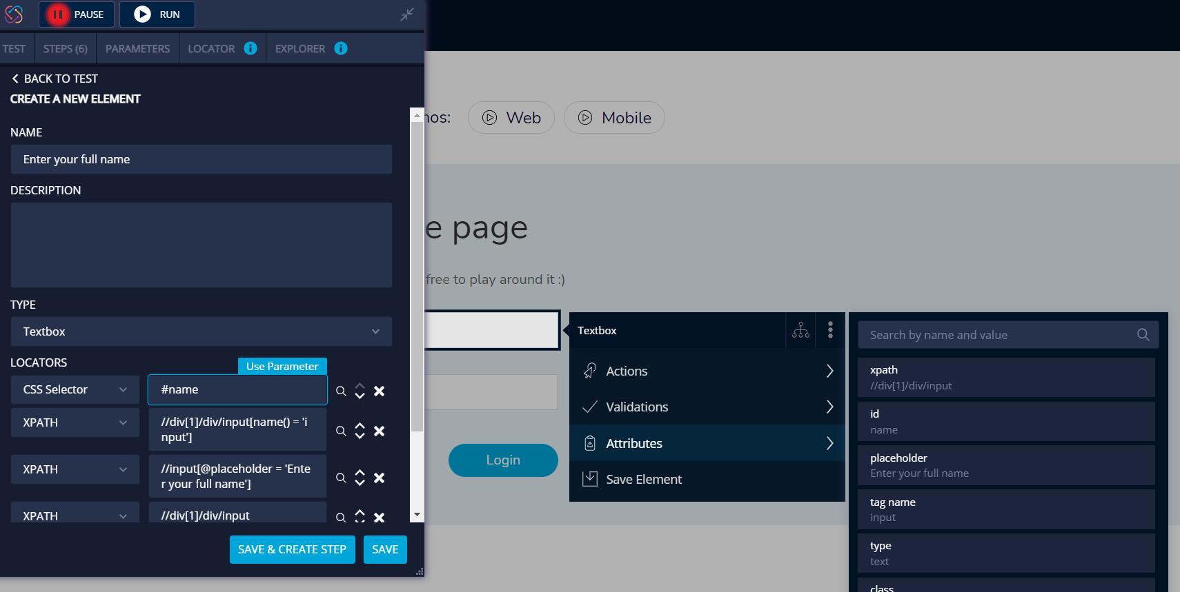 TestProject CSS Selectors