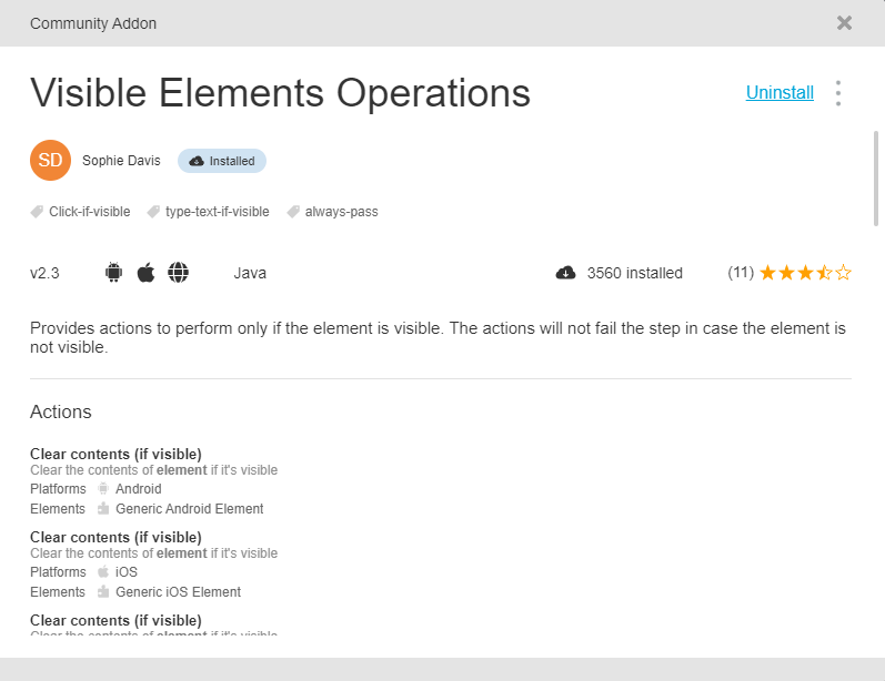 Visible Elements Operations Addons