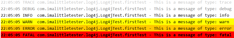 Logging Test Automation Information with Log4j