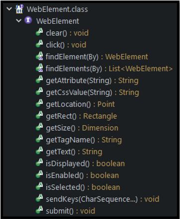 Selenium WebElement Methods