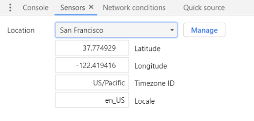 Changing the Location from Developer Tools