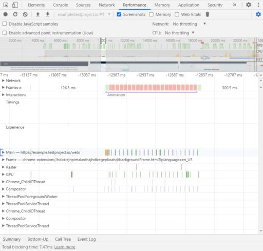 Developer Tools: Performance Details
